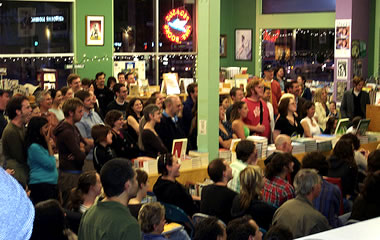 packed in for a reading at Pegasus Books