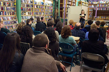 a poetry reading at Pegasus Books